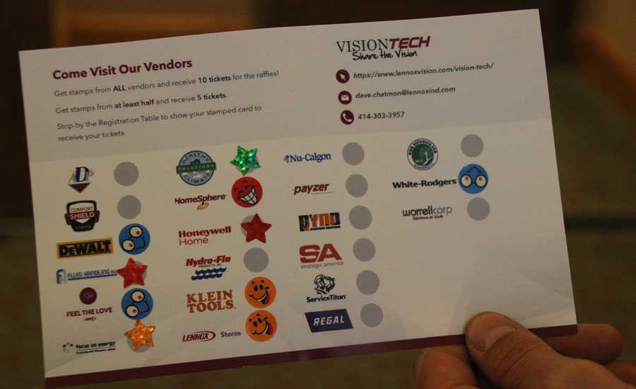2019 Lennox VisionTECH Conference: Students at VisionTech had the opportunity to visit vendors, get stickers from them, and redeem their card for raffle tickets. - The ACHR News