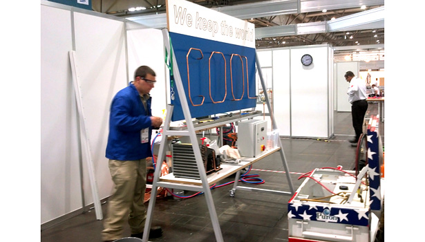 USA competitor Chris Kuhn works on the back side of the HVACR installation project at WorldSkills.