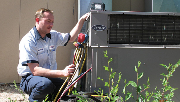service tech at a/c unit