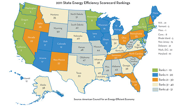 States Ranked for Energy Efficiency   2011-12-19   ACHRNEWS