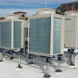 Cluster of Outdoor Units on Rooftop