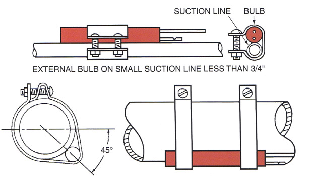 how an expansion valve sensor should be properly mounted