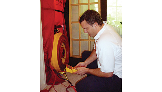 running a blower door test