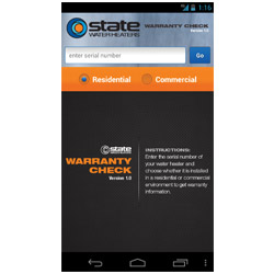 State Water Heaters Warranty Check App