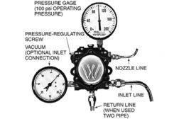 gauges fastened to inlet and outlet of typical oil burner pump