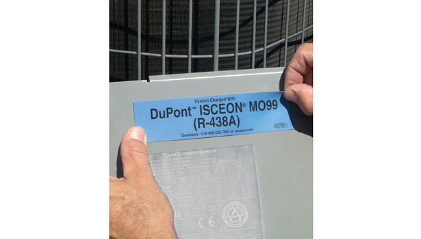 label the system with the current type of refrigerant and oil(s)