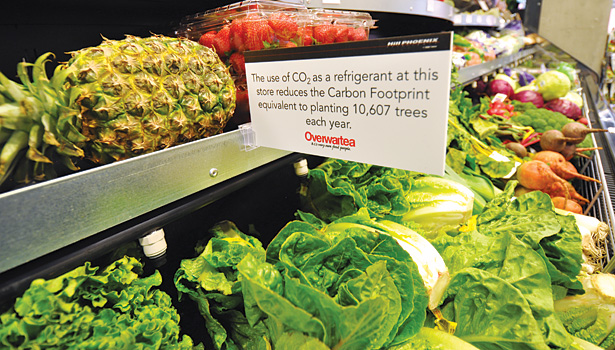 CO2 is being used in more and more supermarkets and is being promoted for its favorable environmental impact. (Photos courtesy of Hillphoenix)