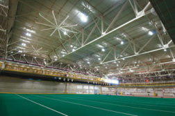 ISU installed a series of high-volume, low-speed (HVLS) fans from Big Ass Fans to help ventilate the school's 236,000-square-foot Lied Recreation Athletic Center during the summer.