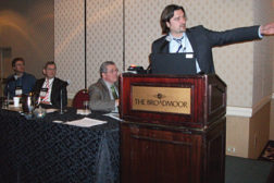 Marc Chasserot, managing director for Shecco, discusses trends in natural refrigerants during an IIAR panel session.