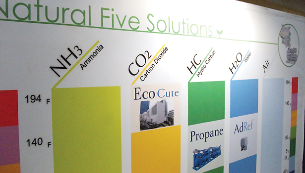 The wide range of natural refrigerants is reflected in this display at the expo portion of the IIAR conference.