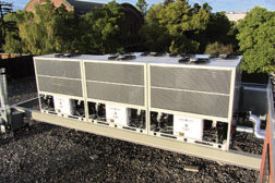 Five ClimaCool modules — three UCA units and two UCF units — are installed at Montana State University's Leon Johnson Hall in Bozeman, Mont. ClimaCool's modular chillers are designed to minimize installation time and costs.