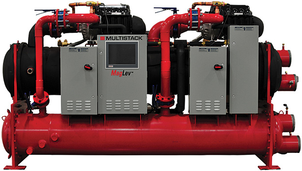Efficiency and sustainability are key drivers of chiller design. Multistack's new-generation MagLev chiller features a low per-ton refrigerant charge; high efficiency, flexibility, and control; and a small footprint per ton of capacity.