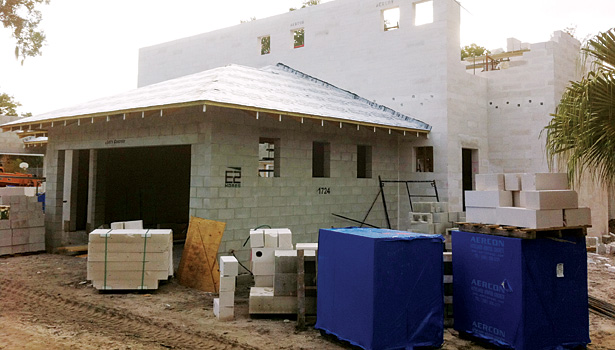 At the top of the homeowner's wish list was the desire to have no drywall in the home, so AAC block construction was used.
