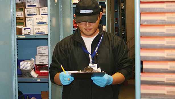 This gentleman keeps the trucks stocked and ready to go. He stages each of the jobs to save the company time and money.