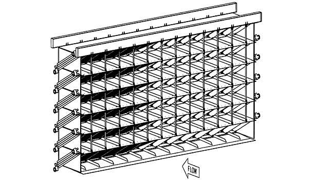 Figure 1. The design to upgrade NASA's Icing Research Tunnel called for six new coil modules stacked on top of each other to form a 26-by-50-foot wall of coils, as illustrated in this engineering drawing. (Image courtesy of Jacobs Technology.)