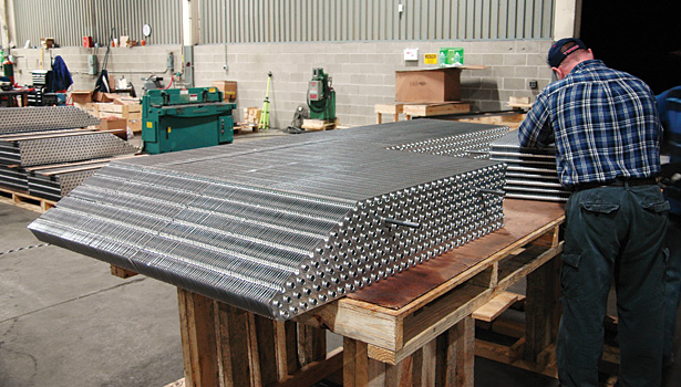 Thousands of aluminum cooling fins for one of the heat exchanger modules were assembled by Super Radiator Coils. (Photo courtesy of Super Radiator Coils.)