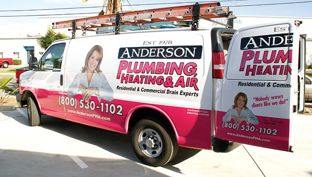 Woman-owned Anderson Plumbing, Heating & Air is known for its pink trucks.