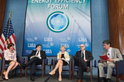 """Panel members discuss """"Energy Efficiency Practices in a New Energy Economy."""" (Feature photos by Herman Farrer Photography.)"""