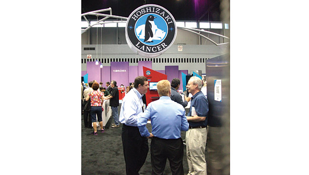 Face-to-face conversations comprised a key element of the NRA Show as demonstrated at the booth of refrigeration equipment manufacturer Hoshizaki.
