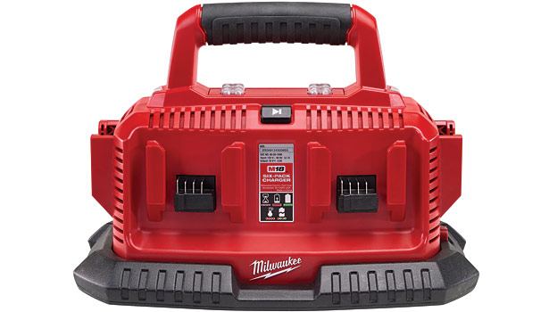 The M18 Six Pack Sequential Charger will sequentially charge up to six battery packs of any Milwaukee M18 lithium-ion battery.