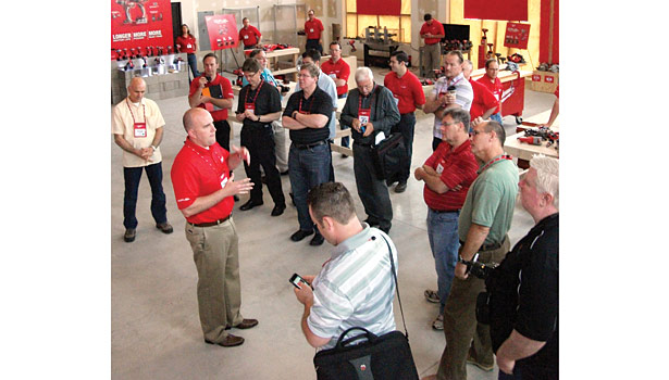 An under-renovation building on the site of the Pabst brewery in downtown Milwaukee was one of the venues temporarily used by Milwaukee Tool to showcase its latest products to the trade press.
