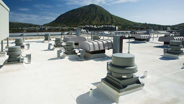 Kalele Kai Condominium's ventilation system upgrade included installation of Greenheck centrifugal roof exhaust fans. (Photo courtesy of Greenheck.)