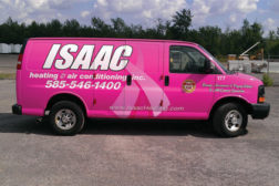 Isaac Heating & Air Conditioning, Rochester, N.Y., recently unveiled a pink service van in an effort to raise cancer awareness.
