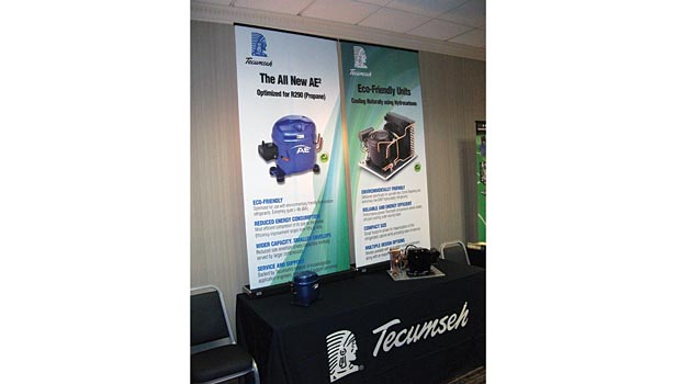 Propane's use as a refrigerant in small commercial refrigeration systems was described in information supplied by Tecumseh in the exhibit area at Atmosphere America.