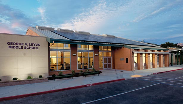 The George V. Leyva Middle School administration building in San Jose, Calif., was completed in 2011 and is the first net-zero public school building in California.