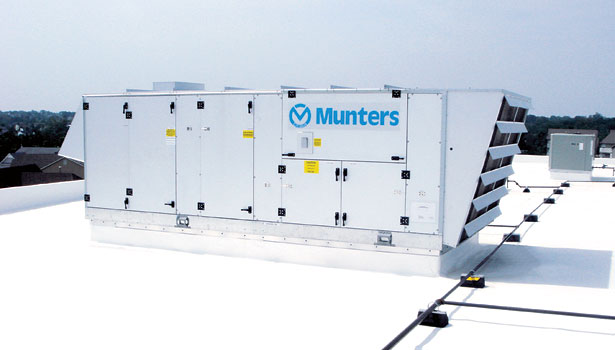 The Munters DryCool Standard system is a desiccant dehumidification unit which are typically installed to treat 100 percent makeup air for commercial applications such as schools, indoor pools, and supermarkets.