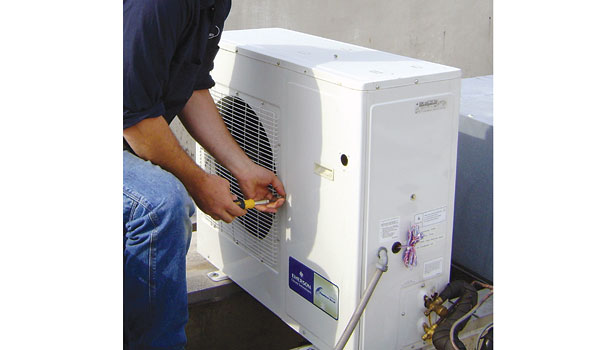 A condensing unit is part of a configuration that includes a new defrost scheme and evaporator fan unit with electronically commutated motors (ECMs).