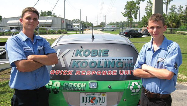 In Southwest Florida, Kobie Kooling Inc. is a family operation currently run by second-generation owner Fred Kobie. Here his sons Fred Kobie III, NATE-certified field supervisor, and Michael, NATE-certified mechanic, pose by a company vehicle.
