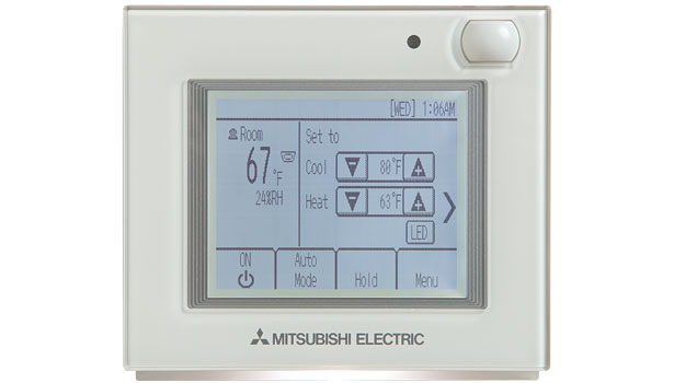 Mitsubishi Electric's SmartME Zone Controller can control up to 16 indoor units in a single zone and features an intuitive backlit touch-screen interface with dual set point functionality and LED color status indicator.