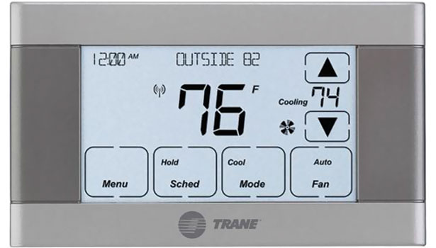 Trane's XL624 Control features a black-and-white touchscreen and enables homeowners to remotely control and monitor indoor comfort conditions from anywhere via a personal computer or mobile device.