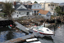 An overhead view of Hurricane Sandy's wreckage at Howard Beach in New York.
