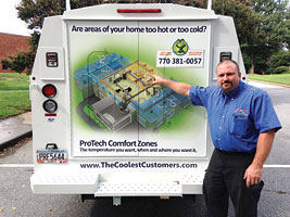 Marty Gildemeyer shows off the ProTech Comfort Zones, an online app which he has put as a wrap on several of his company's trucks. He said he's recently sold three zoning systems based solely on people seeing the trucks.