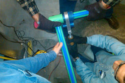 Fusion welding the Aquatherm Blue Pipe.