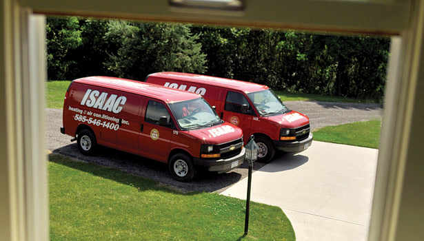 At Isaac Heating & Air Conditioning, the company keeps its fleet up-to-date by purchasing vehicles outright when one goes down. The company has around 160 vehicles on the road.