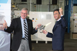 The Daikin executives cut the ribbon at their Houston plant. The residential products launch is expected to add 250 jobs at the location.