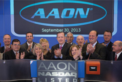 Norm Asbjornson, president and CEO of AAON, Inc., rang the opening bell of the NASDAQ Stock Market in celebration of the 25th anniversary of AAON as a public company.