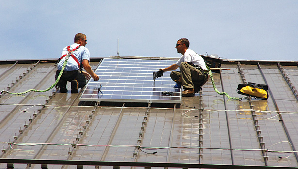 Recent advances in micro inverter technology make installing PV systems easier and safer for technicians. (Photo courtesy of U.S. Army Environmental Command)