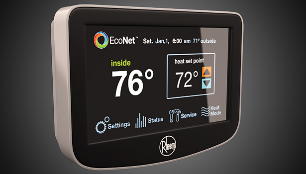 Just launched in October, the Rheem EcoNet Control Center allows a homeowner to manage heating, cooling, and water heating systems that together account for 65 percent of the energy used in a home.