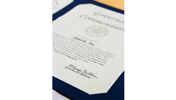 Spaeth Inc. received recognition of its 100th anniversary from Oklahoma Gov. Mary Fallin. Four generations of Spaeths have contributed to its success.
