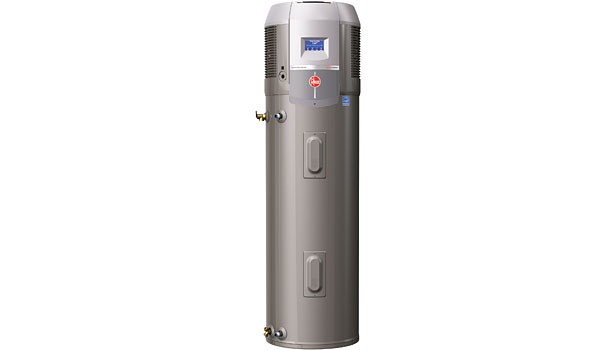 The Prestige Series hybrid electric heat pump water heater features an Energy Factor (EF) of 2.45, which is the most efficient water heater that Rheem has ever developed.
