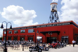 Harley-Davidson stores used to look like warehouse spaces with motorcycles, but have since become showcases of unique individuality, like this one.