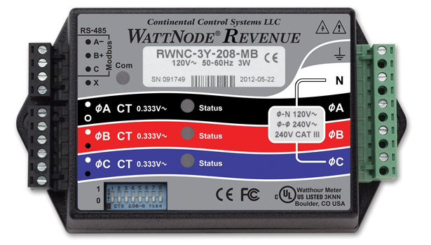 Continental Control Systems LLC featured the WattNode Revenue Modbus, the first meter in the Revenue line to be independently certified to the requirements of the American National Standard for Electric Meters Code for Electricity Metering.