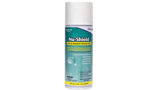 Nu-Calgon displayed Nu-Shield, which is a specially formulated super hydrophobic chemistry developed for service where anti-wetting, anti-corrosion, anti-icing, and self-cleaning properties are desired on material surfaces in HVACR applications.