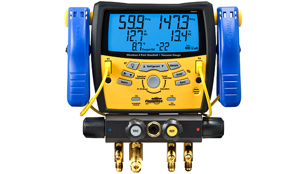 Fieldpiece Instrument's wireless digital manifold, the SMAN4, has four ports and a built-in vacuum gauge.