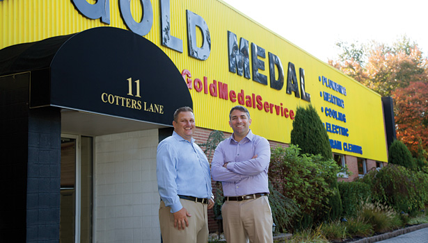 Rob Zadotti, left, and Mike Agugliaro, right, founded Gold Medal Service after being frustrated with late pay checks and shady business tactics from their former boss.