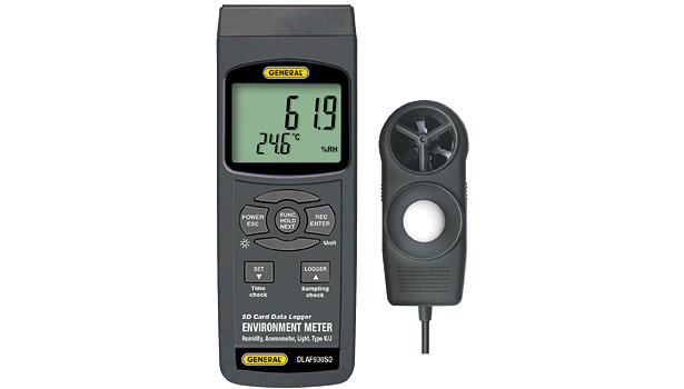 General Tools and Instruments Environmental Meter with Excel-Formatted Data Logging SD Card allows measurement with a sampling rate from 1 second to 1 hour. (Photo courtesy of General Tools and Instruments)
